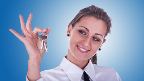 Girl holding house keys